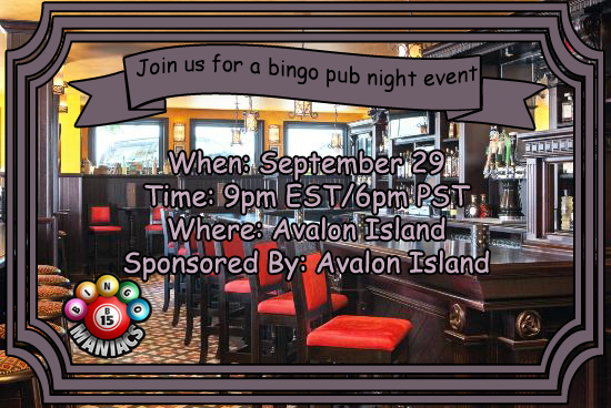 Avalon Pub Bingo Sep 29