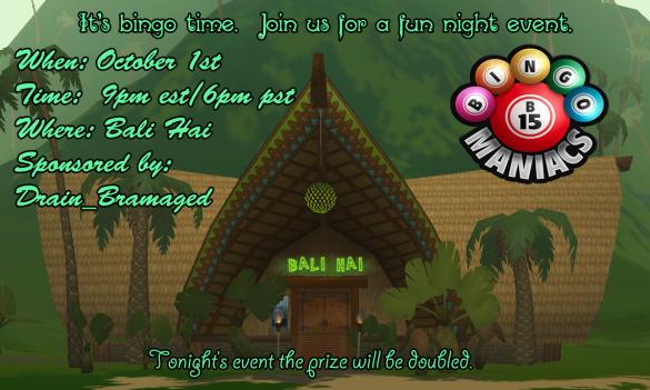 Bali Hai Bingo October 1st