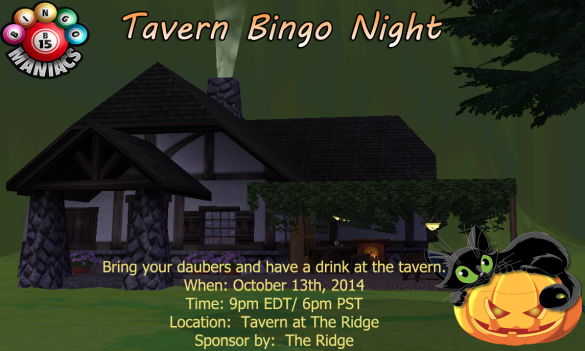 Bingo at the tavern aka The Ridge Oct 13