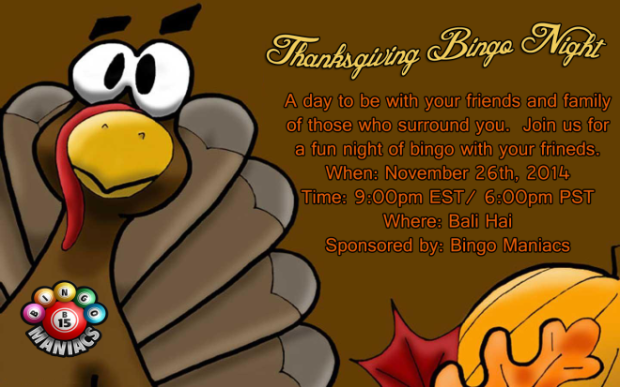 Thanksgiving bingo night - bingo maniacs